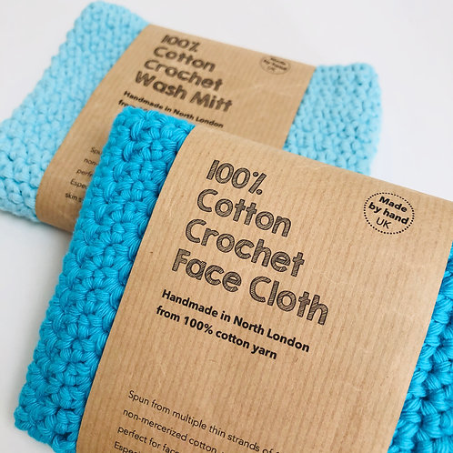 FACE CLOTH & WASH MITT turquoise and pale blue hand crochet 100%
