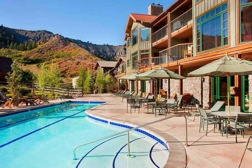 Pool and patio at the Timbers Club in Snowmass, CO