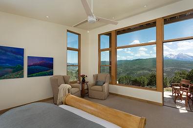 Floor to ceiling windows, master bedroom