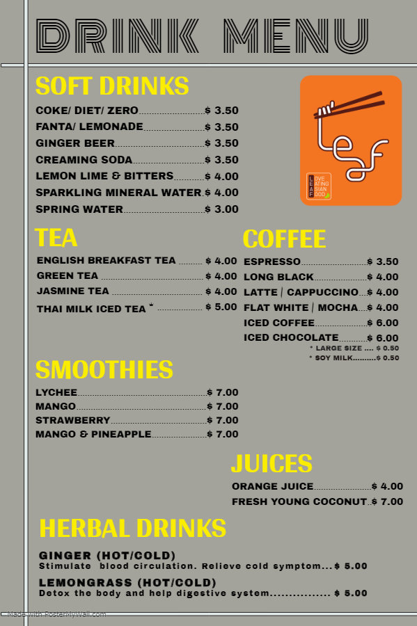Soft drink menu - Made with PosterMyWall