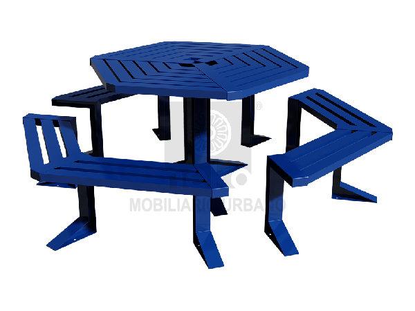 QRO-16-33 - Mesa para picnic hexagonal - Línea Querétaro