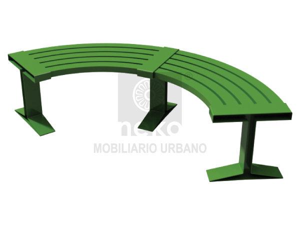 QRO-16-31 - Banca sin respaldo curva en acero- Línea Querétaro