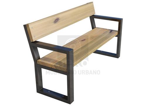 Banca con respaldo en madera l nea toluca mobiliario for Banco exterior en linea