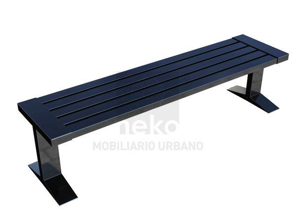 QRO-11-14 - Banca sin respaldo en acero - Línea Querétaro