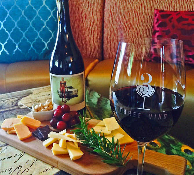 wine and cheese board at 3 Vino Wine Bar in Roanoke, Texas