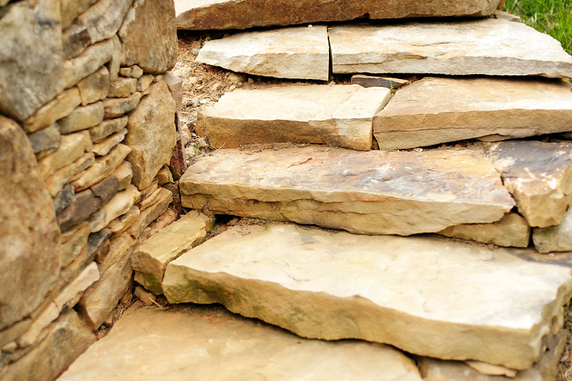 Stacked Stone Wall and Stacked Stone Steps