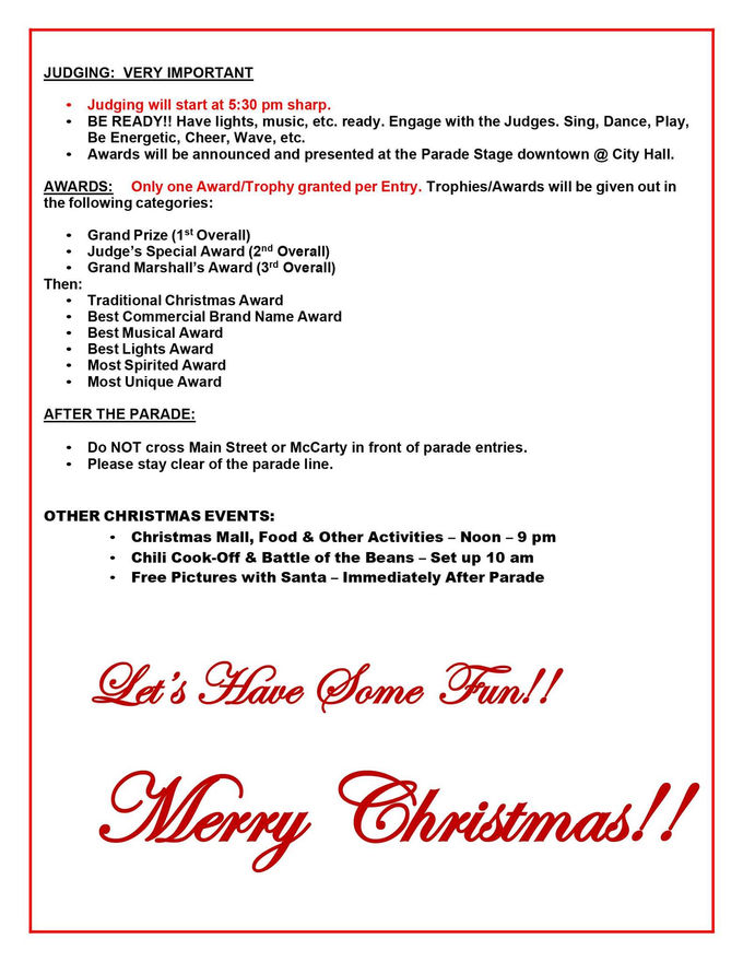 2019 Christmas Parade Entry Form & Information pg3 of 3