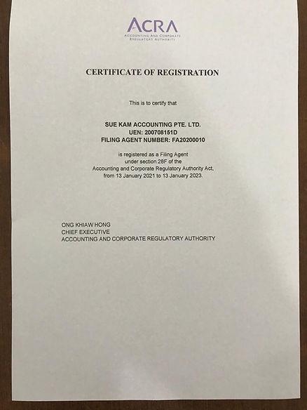 ACRA Registered Filing Agent