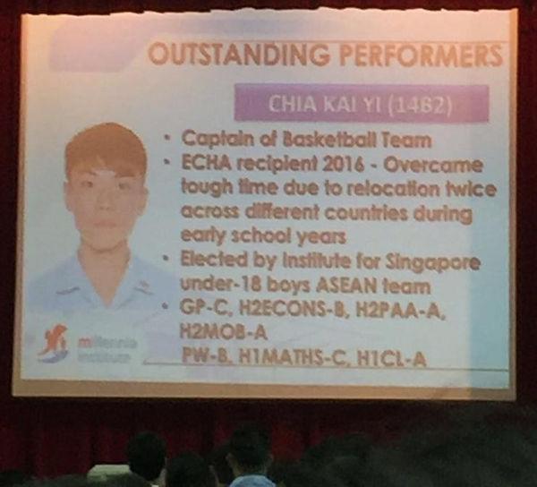 Chia Kai Yi, Top Millenia Outstanding Pe
