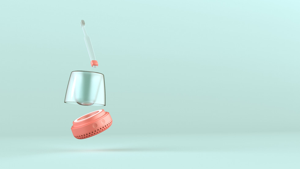 Sensor attachment to brush - transparent holder part - speaker part