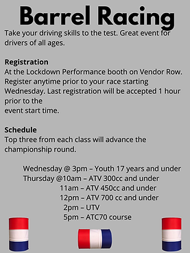 Barrel Racing 2021 Take your driving skills to the test. Great event for drivers of all ag