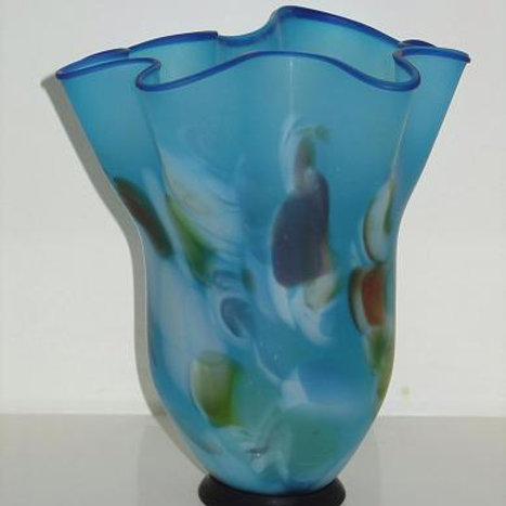 Blue hand blown art glass ART328G
