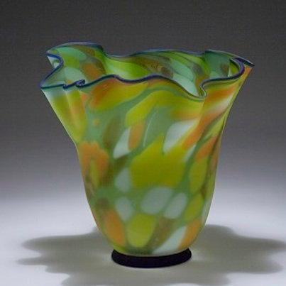 Green vase art glass Art328G