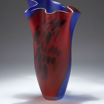 RED AND BLUE ART GLASS ART521