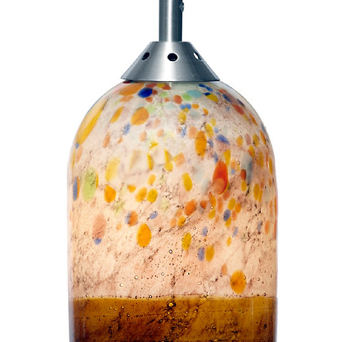 White and amber hand blown pendent light. L780