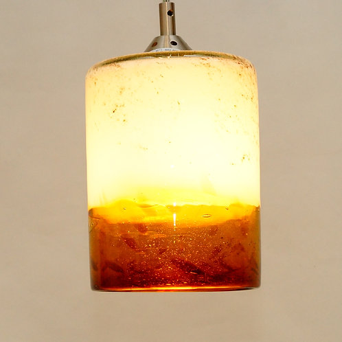"White and amber pendent light L810 10"" X 5"""