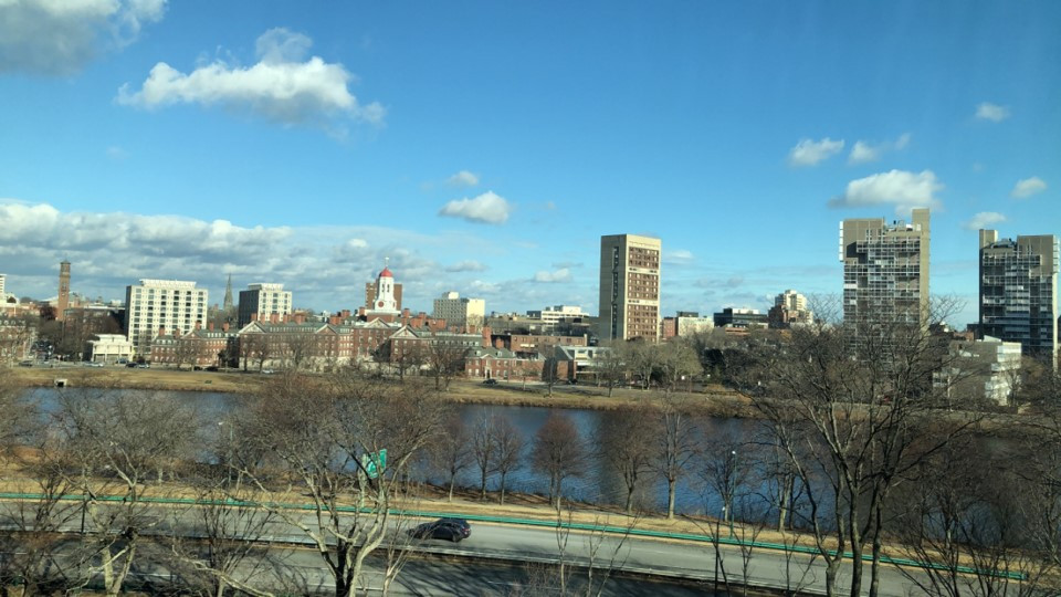"View of Charles River from my ""dorm"" room."
