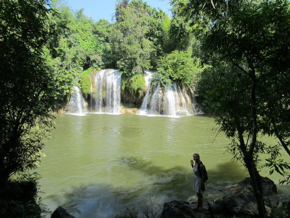 Kanchanaburi waterfalls and happy times pre-burglary.