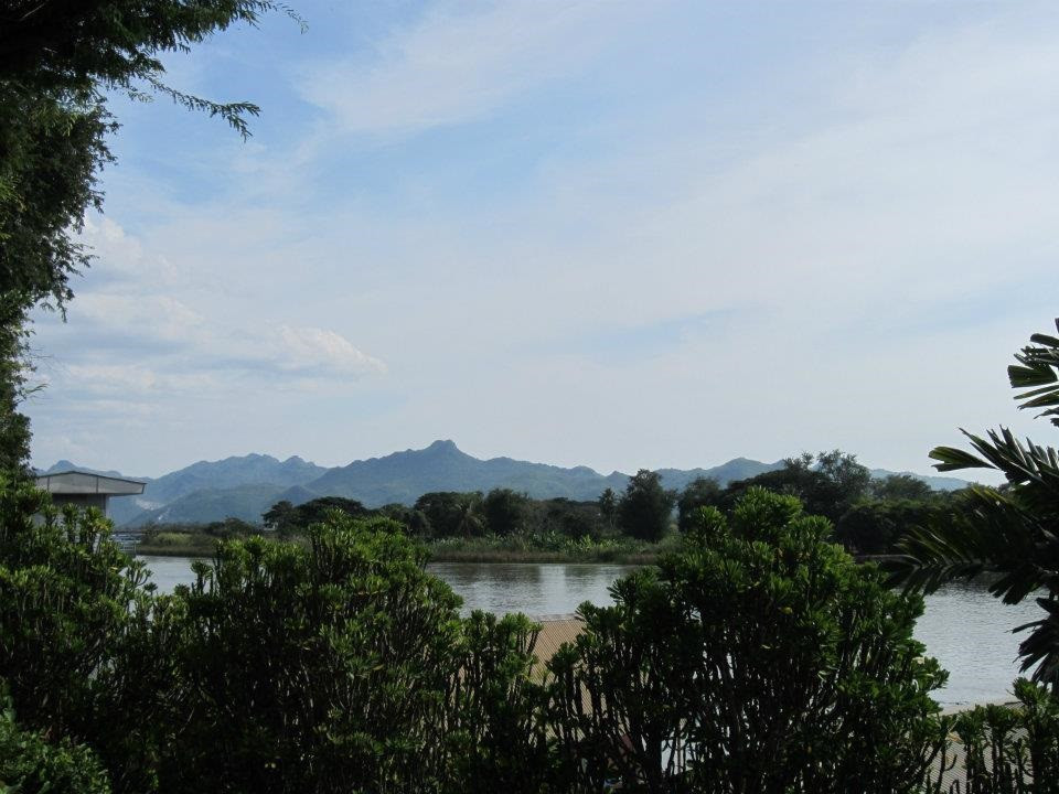 View of the River Kwai from the courtyard at the Jolly Frog which was the scene of the crime.