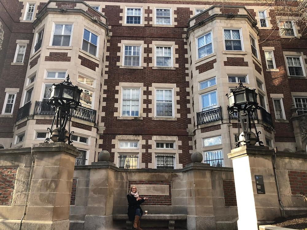 In front of Franklin Roosevelt's dorm at Harvard.