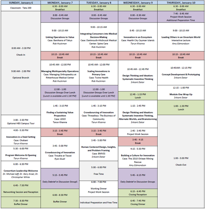 Our HBS Schedule for the week.