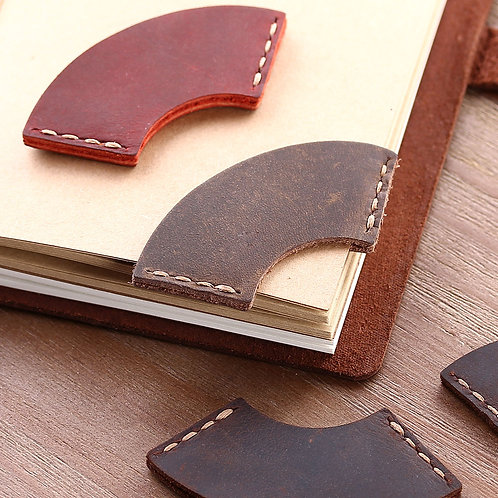 Handmade Vintage Leather Mini Corner Page Bookmark - Round