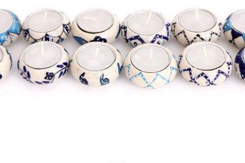 Set of 5 Tealight Holders - Blue and Aqua