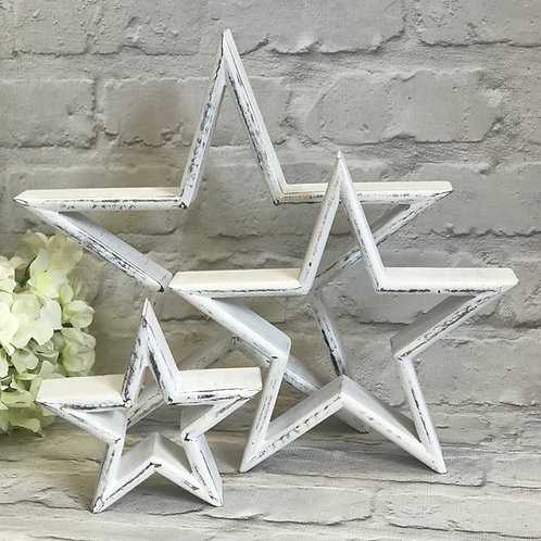 Set of 3 Distressed Wood Mantlepiece Stars