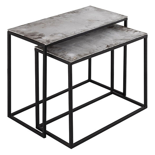 Farrah Collection Silver Set of 2, side Tables