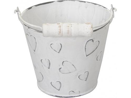 Cute Rustic White Heart bucket 12cm