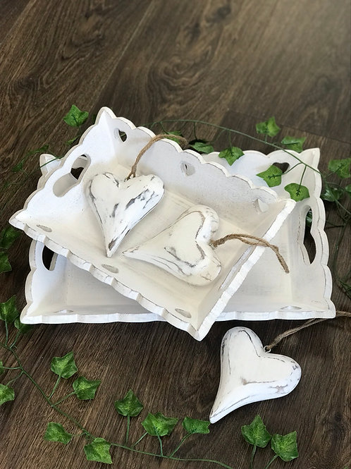White Scallop Heart Vintage Trays