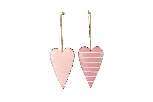 Set of 2 Mini Pink Hanging Hearts