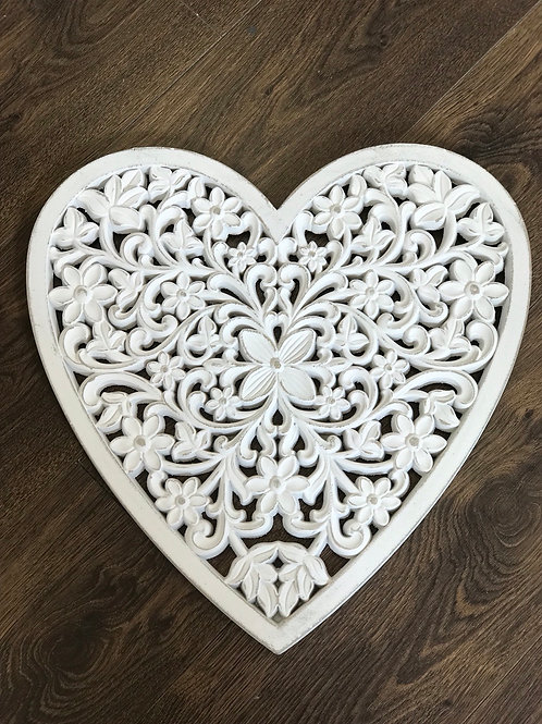 Carved white wooden heart 46cm