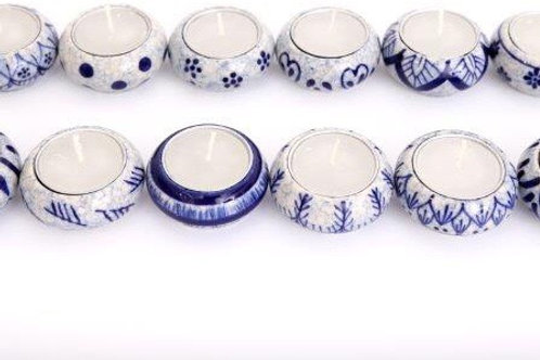 Set of 5 Tealight Holders - Blue and white