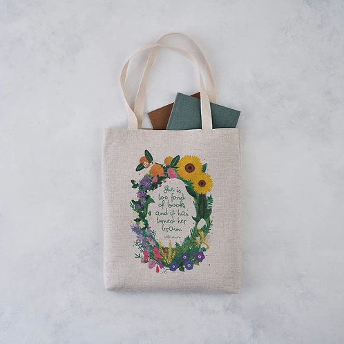 Bookish Tote Bag 'She is too fond of Books..'