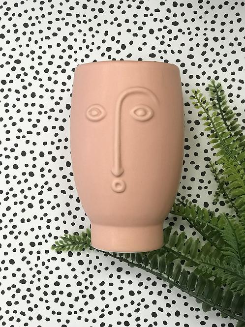 Face Vase Matte Pink