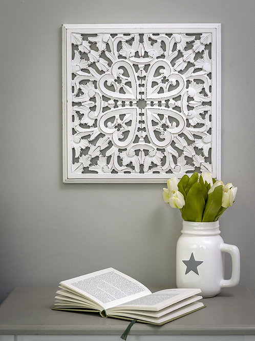 Distressed Carved Panel - white or grey