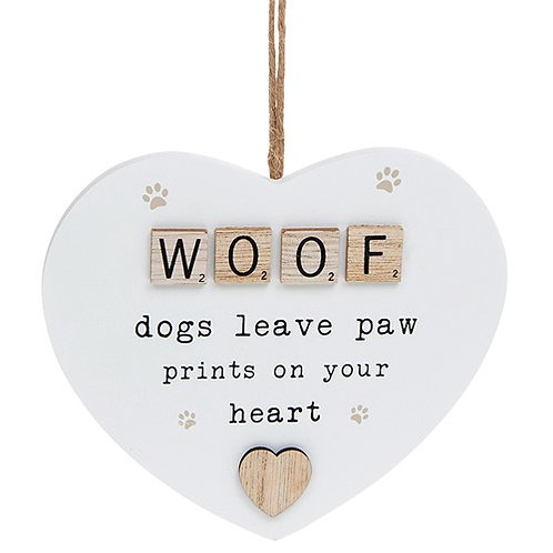 Woof Wooden Scrabble Hanging Heart