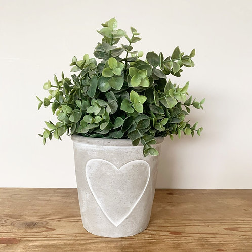 Grey Cement Pot with Heart Outline