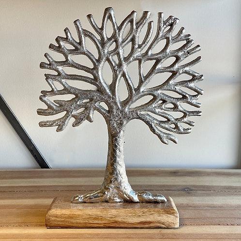 Metal Tree on Wooden Base 28cm