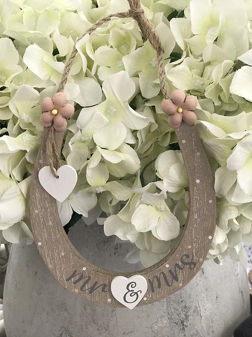 Wooden Wedding Horseshoe - Mr & Mrs