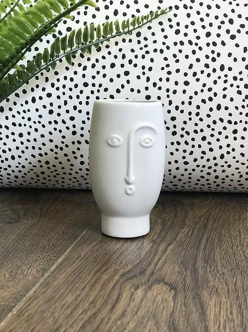 Mini Face Vase Matte Grey