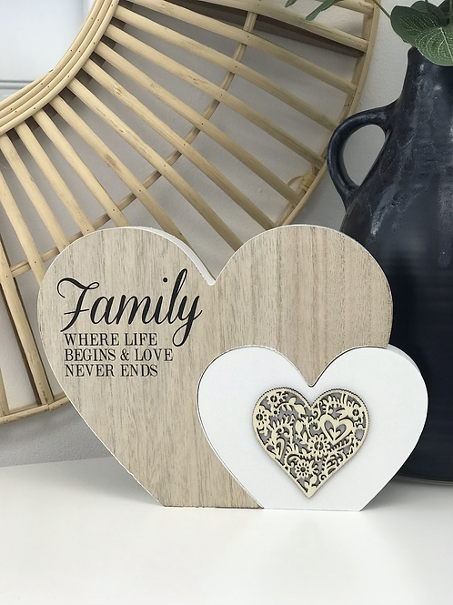 Double wooden heart blocks