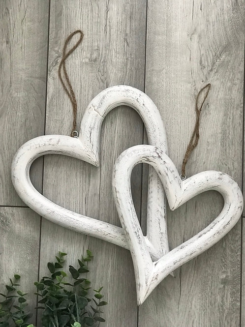 Set of 2 distressed white Wooden Hearts