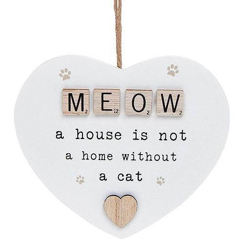 Meow Wooden Scrabble Hanging Heart