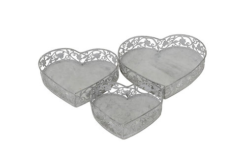 Set of 3 Rustic Heart Trays