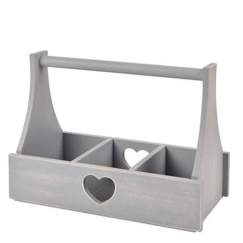 Grey Wooden Heart Trug