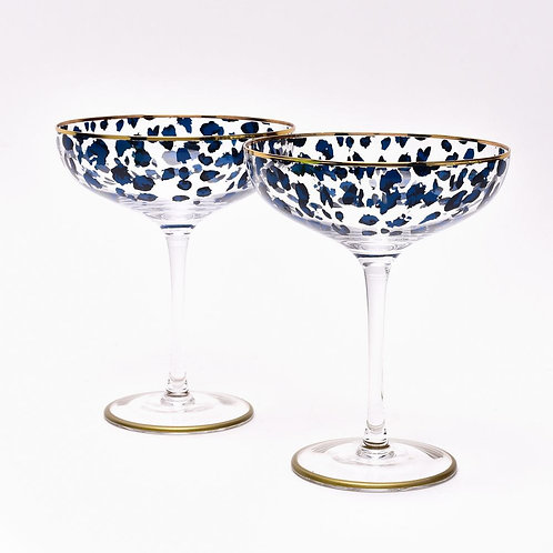 Set of 2 Leopard Print Champagne Saucers