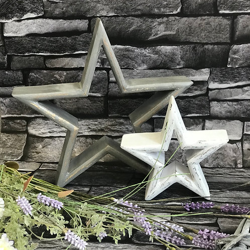 Set of 2 Distressed Wood Mantle Stars