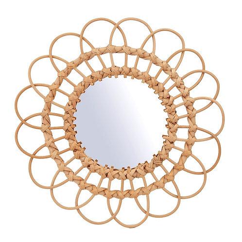 Natural Rattan Flower Mirror